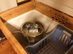 Inside the freezer. Half-keg of sweet sweet delicious Dale's Pale from Oskar Blues