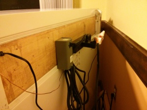 Back of the keezer. I mounted the thermostat control and a power strip to the outside to keep wires neater.